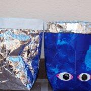 Blau Silber Säckchen mit Augen