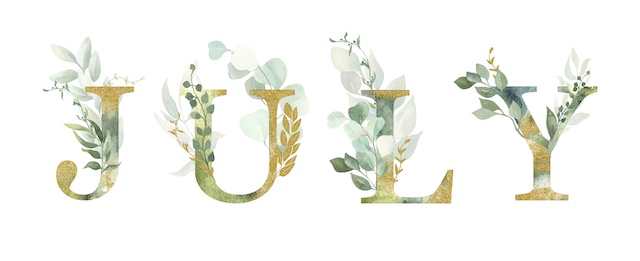 Floral alphabet, lettering July with watercolor green and gold leaf. Perfectly for wedding invitations, greeting card, logo, poster and other design.